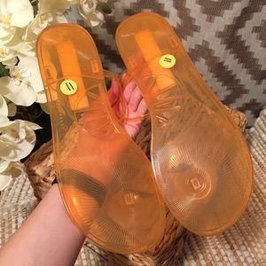 f1f6353a31e Katy Perry Shoes - Katy Perry Peach Geli Gelly Sandals!